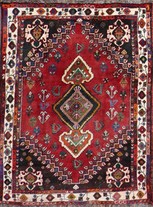 "3'9""x5'4"" Traditional Persian Saraband Red Tribal Wool Hand-Knotted Rug - Direct Rug Import 