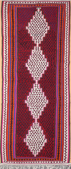"4'7""x10'5"" Persian Kilim Burgundy Wool Hand-Knotted Rug"