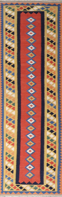 "2'8""x9'7"" Persian Kilim Tan Wool Hand-Knotted Runner"
