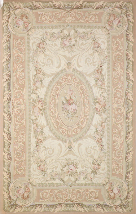 "6'x9'3"" Aubusson Brown Wool Hand-Knotted Rug"