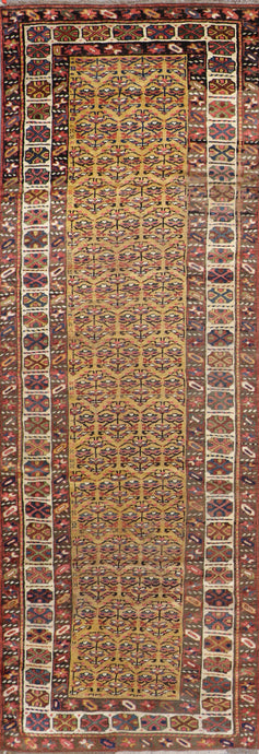 "3'10""x12'2"" Persian Kilim Gold Wool Hand-Knotted Runner"