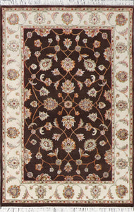 "4'x6'2"" Decorative Brown Wool & Silk Hand-Knotted Rug - Direct Rug Import 