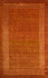 "5'8""x8'11"" Contemporary Rust Wool Hand-Knotted Rug"