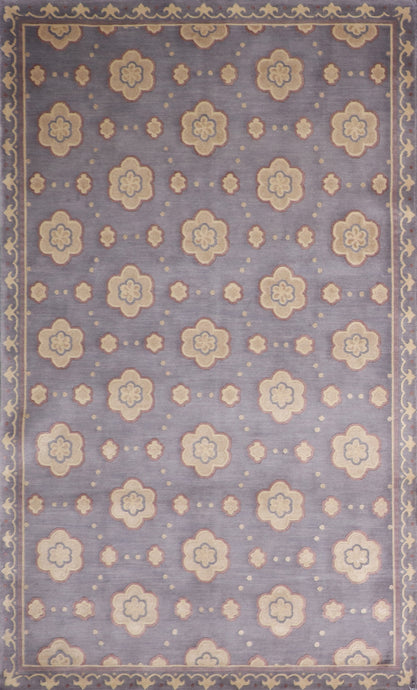 "5'1""x8' Decorative Lavender Tibetan Wool & Silk Hand-Knotted Rug"