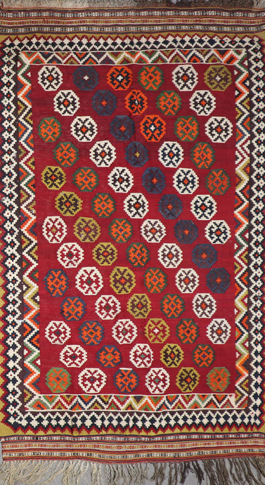 "5'6""x8'10"" Persian Kilim Red Wool Hand-Knotted Rug"