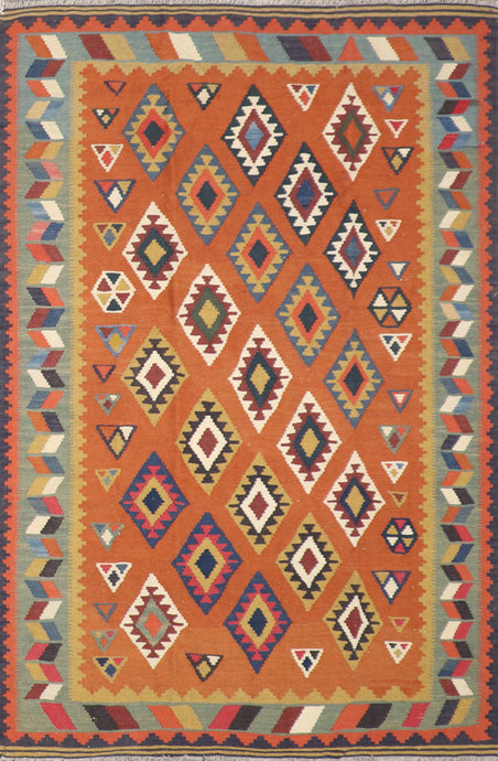 "5'8""x8'1"" Persian Kilim Orange Wool Hand-Knotted Rug"