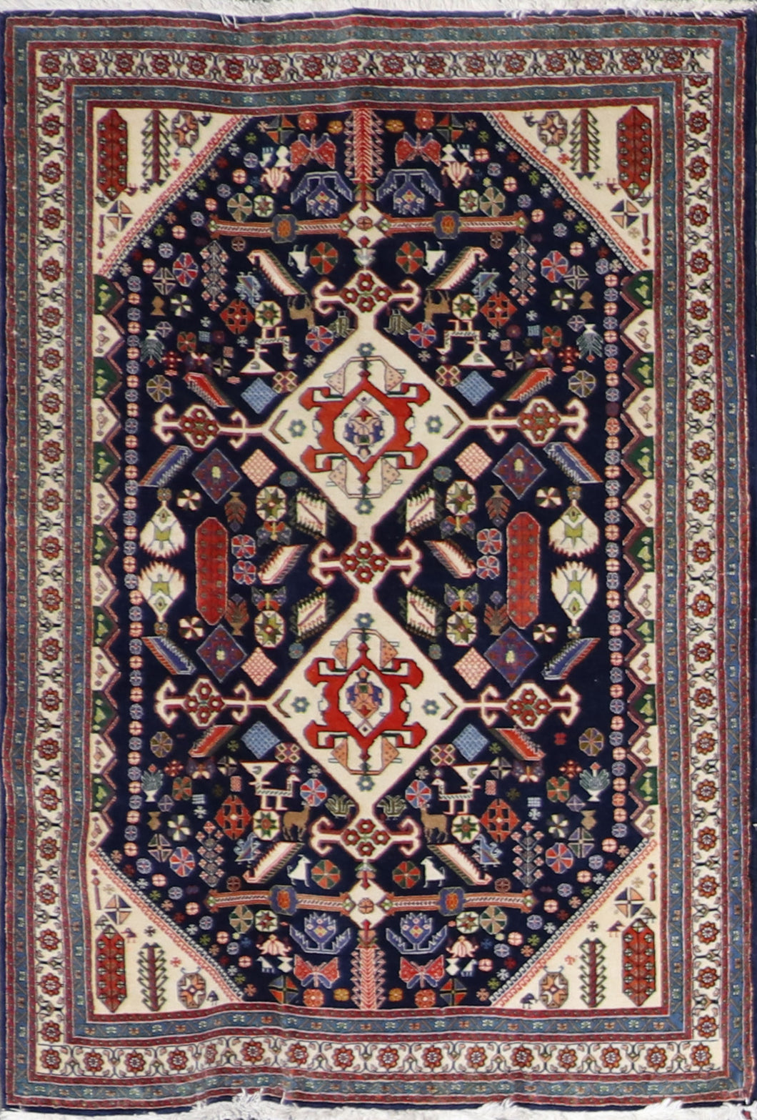 "3'6""x5' Persian Kilim Navy Wool Hand-Knotted Rug"