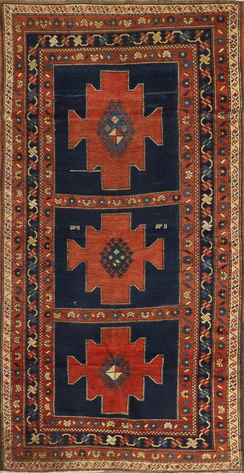 "4'1""x8' Tribal Persian Antique Navy Wool Hand-Knotted Rug"