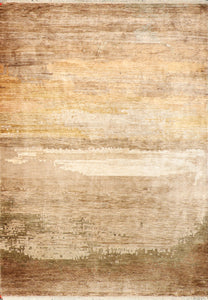 "6'5""x8'9"" Contemporary Brown Bamboo Silk Hand-Knotted Rug"