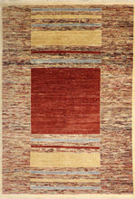 "Load image into Gallery viewer, 5'7""x7'7"" Contemporary Tan Wool Hand-Knotted Rug"