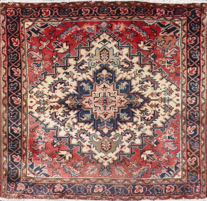 5'x5' Traditional Black Kashan Wool Hand-Knotted Rug