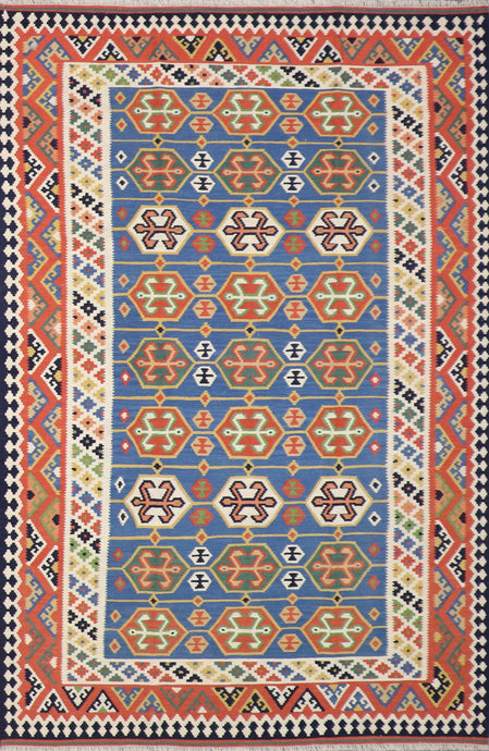 "5'6""x8'2"" Persian Kilim Blue Wool Hand-Knotted Rug"