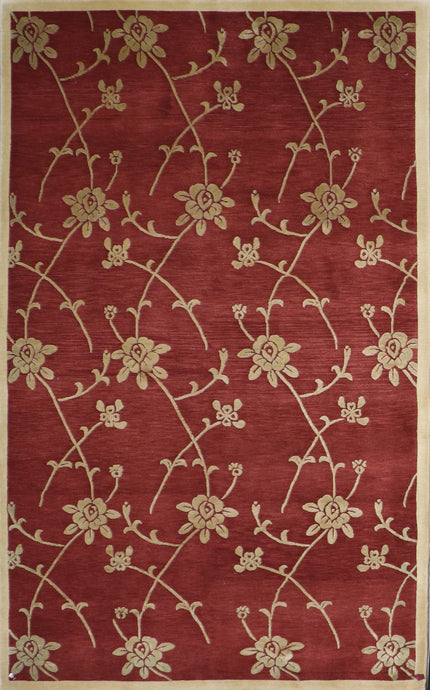 "4'11""x7'10"" Transitional Burgundy Tibetan Wool & Silk Hand-Knotted Rug"