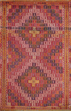 "Load image into Gallery viewer, 5'10""x8'6"" Persian Kilim Red Wool Hand-Knotted Rug"