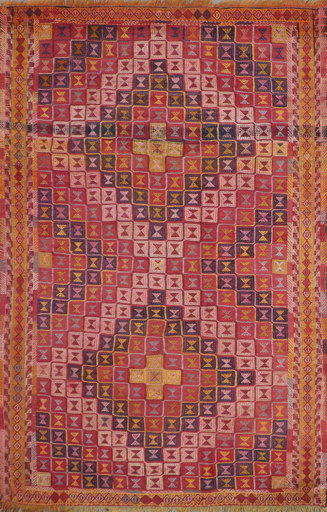 "5'10""x8'6"" Persian Kilim Red Wool Hand-Knotted Rug"
