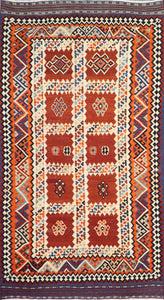 "5'2""x9'2"" Persian Kilim Rust Wool Hand-Knotted Rug"