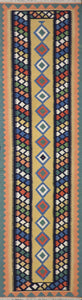 "2'8""x9'8"" Persian Kilim Gold Wool Hand-Knotted Runner"