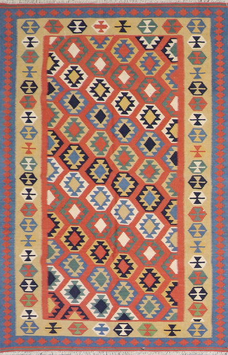 "4'1""x5'11"" Persian Kilim Orange Wool Hand-Knotted Rug"