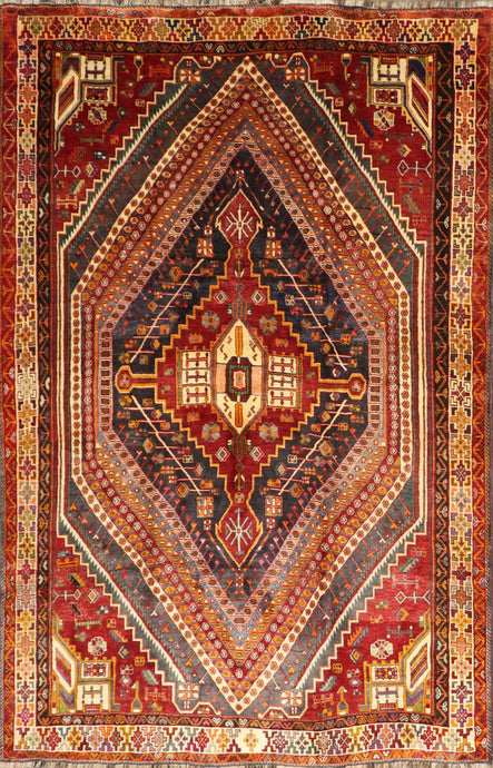 "5'6""x8'9"" Traditional Persian Red Saraband Wool Hand-Knotted Rug"