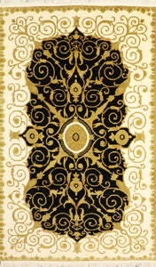 "5'x7'8"" Versace Black Wool Hand-Knotted Rug"