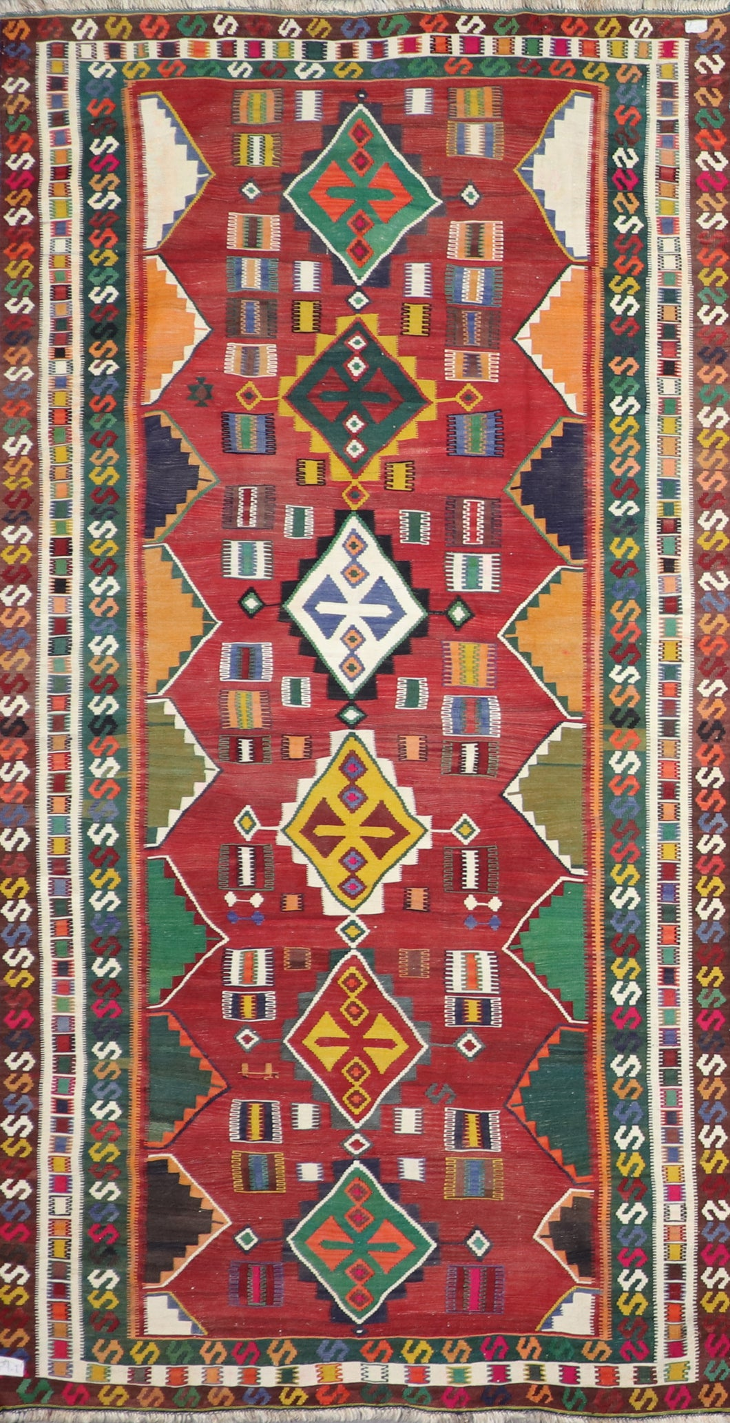 "5'x9'8"" Persian Kilim Red Wool Hand-Knotted Runner"