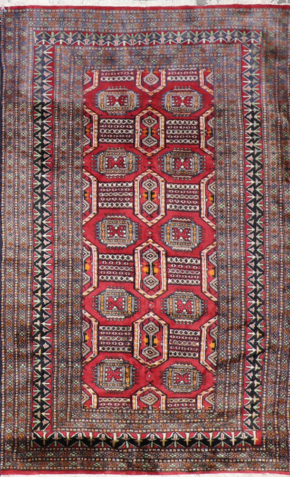 "3'10""x6'3"" Tribal Red Persian Wool Hand-Knotted Runner"
