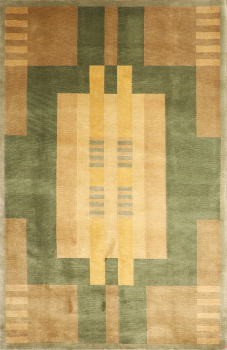 "5'6""x8'6"" Contemporary Green Tibetan Wool Hand-Knotted Rug"