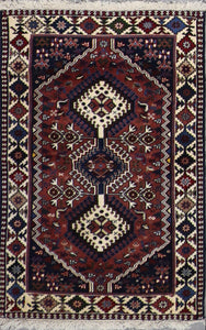 "2'8""x4'3"" Traditional Persian Brown & Ivory Wool Hand-Knotted Rug - Direct Rug Import 