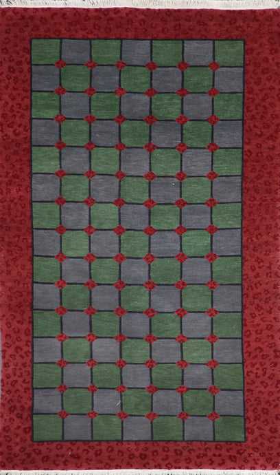 5'x8' Contemporary Green Tibetan Wool Hand-Knotted Rug
