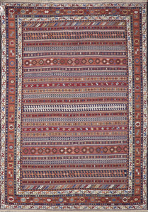 "6'7""x9'5"" Persian Kilim Red Wool Hand-Knotted Rug"