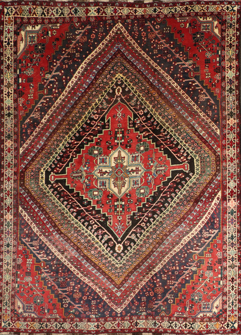"6'11""x10'2"" Traditional Persian Red Tribal Wool Hand-Knotted Rug"