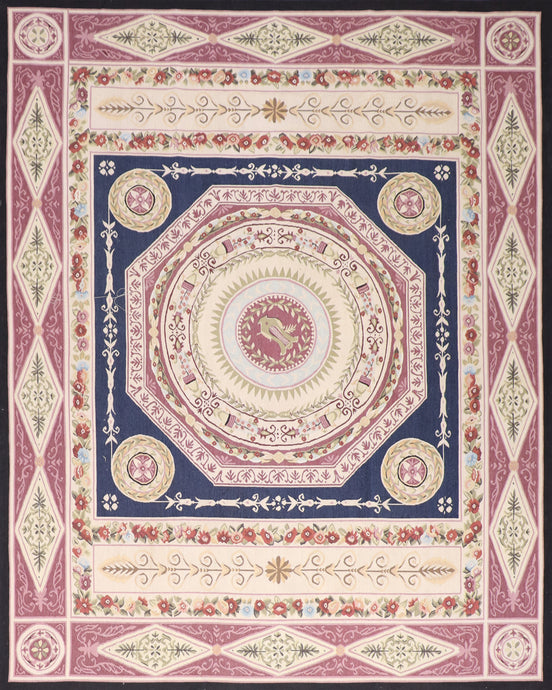 "8'x10'3"" Aubusson Red Wool Hand-Knotted Rug"