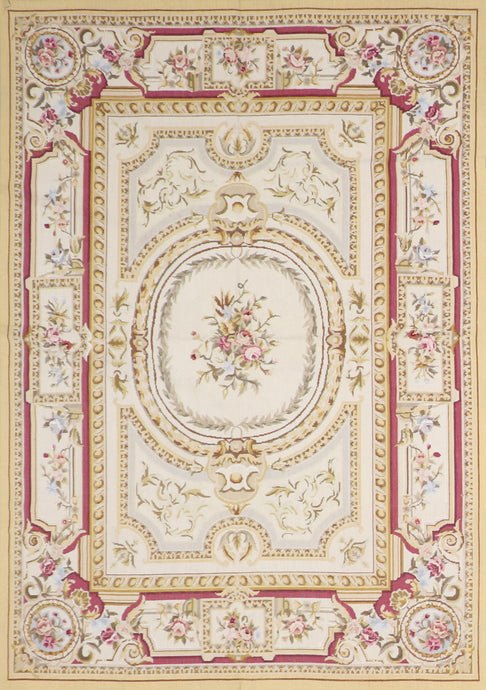 "5'1""x7'1"" Needlepoint Ivory Wool Hand-Knotted Rug"