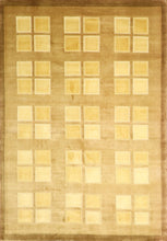 "Load image into Gallery viewer, 5'6""x7'11"" Contemporary Brown Tibetan Wool Hand-Knotted Rug"