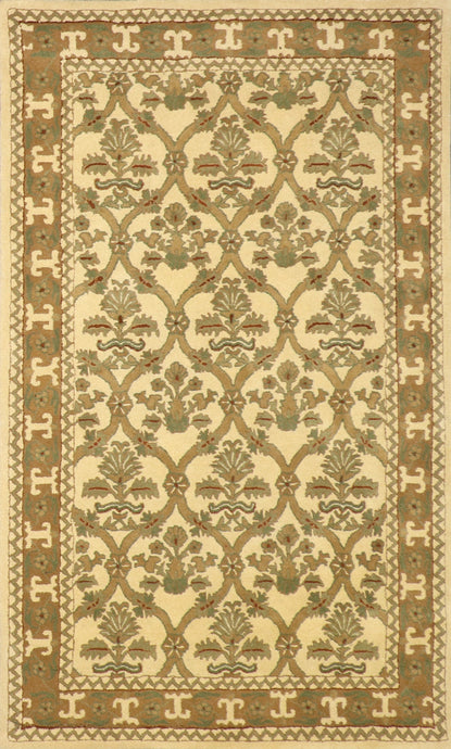 "5'x8'1"" Decorative Tan Wool Hand-Tufted Rug"