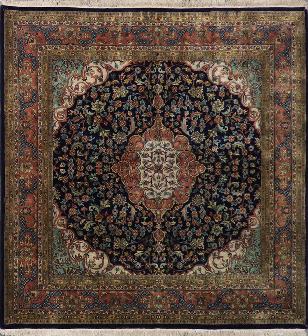 "6'5""x6'5"" Traditional Navy Kerman Wool Hand-Knotted Rug"