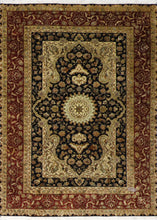 "Load image into Gallery viewer, 4'4""x6'1"" Traditional Tabriz Black Wool&Silk Hand-Knotted Rug - Direct Rug Import 