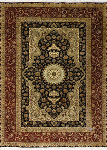 "4'4""x6'1"" Traditional Tabriz Black Wool&Silk Hand-Knotted Rug - Direct Rug Import 