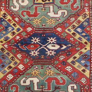 "4'5""x7' Traditional Red Tribal Wool Hand-Knotted Rug - Direct Rug Import 