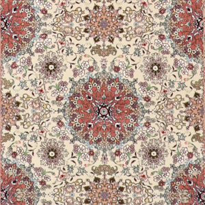 "4'2""x6'2"" Traditional Tabriz Ivory Wool & Silk Hand-Knotted Rug - Direct Rug Import 