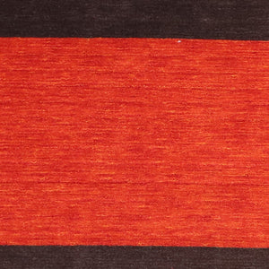 "5'6""x8'6"" Contemporary Red Wool Hand-Knotted Rug"