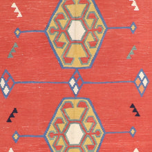 "Load image into Gallery viewer, 4'11""x6'6"" Persian Kilim Red Wool Hand-Knotted Rug"