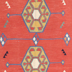 "4'11""x6'6"" Persian Kilim Red Wool Hand-Knotted Rug"