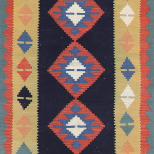 "2'7""x9'9"" Persian Kilim Navy Wool Hand-Knotted Runner"