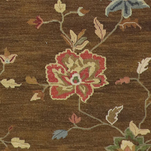 "4'1""x5'9"" Brown Wool Flat-Weave Hand-Knotted Rug - Direct Rug Import 