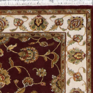 "4'x6'2"" Traditional Dark Red and Gold Wool &Silk Hand-Knotted Rug - Direct Rug Import 
