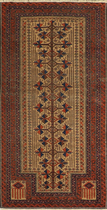 "3'4""x6'4"" Tribal Persian Antique Tan Wool Hand-Knotted Rug"