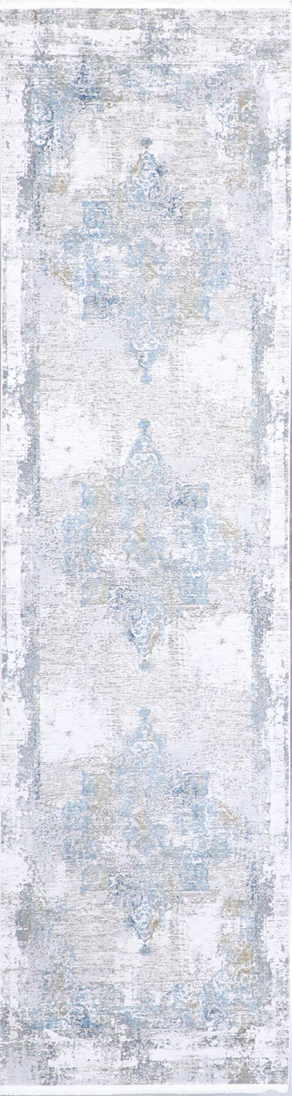 "2'7""x10' Transitional Gray Wool & Silk Hand-Finished Rug - Direct Rug Import 