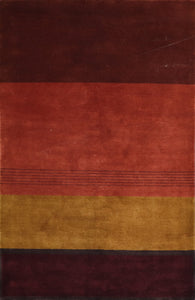 "5'3""x8'1"" Contemporary Rust Wool Hand-Knotted Rug"