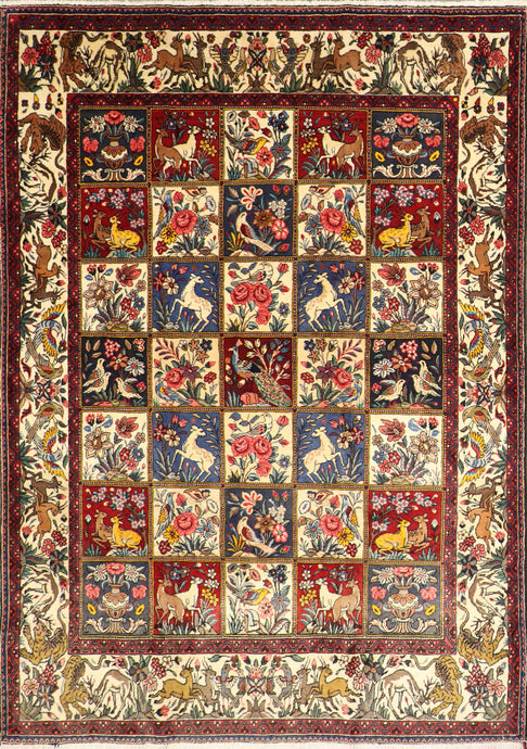 "6'10""x9'9"" Traditional Persian Red Bakhtiari Wool Hand-Knotted Rug"